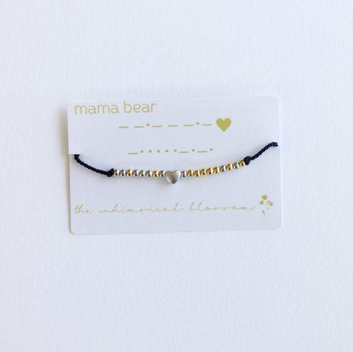 Mama Bear Morse Code and Charm Bracelet