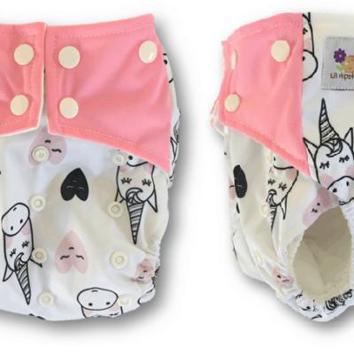 Unicorn and Heart cloth nappy
